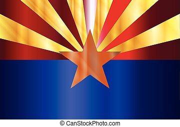 Metal Arizona State Flag