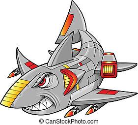 Metal Armed Robot Cyborg Shark vector