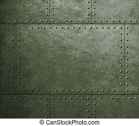 metal armor military green background with rivets