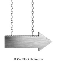 metal arrow with chains isolated