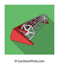 Metal attachment to the tractor for the harvest. Modern agricultural machinery.Agricultural Machinery single icon in flat style bitmap symbol stock illustration.