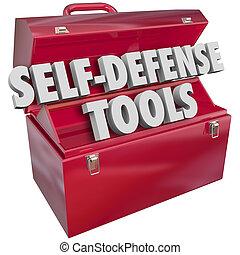metal, autodefesa, palavras, toolbox, ferramentas, vermelho,...