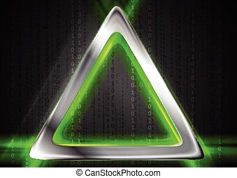 Metal background and green glowing light