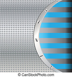 Abstract background with round metal plate and screws