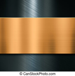 Metal background with brushed bronze plate 3d illustration