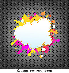 Metal Background With Color Speech Bubble