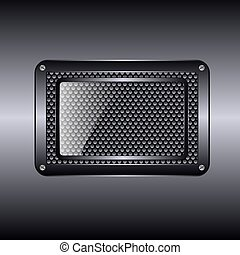 Metal background with glass frame