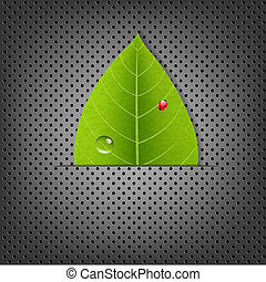 Metal Background With Green Leaf
