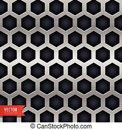 metal background with hexagonal shapes holes