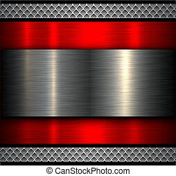 Metal background with metallic banner