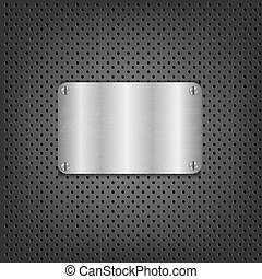 Metal Background With Plate And Bolts