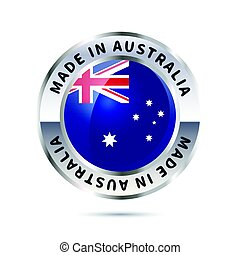 Metal badge icon, made in Australia with flag