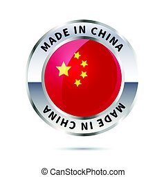 Metal badge icon, made in China with flag