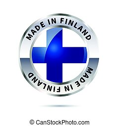 Metal badge icon, made in Finland with flag