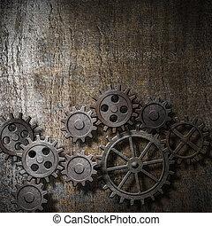 metal, baggrund, hos, rustne, det gears, og, cogs