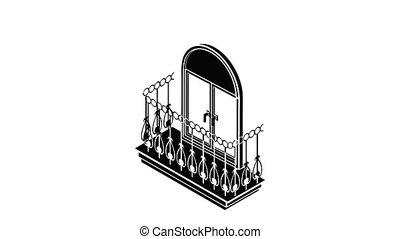 Metal balcony icon animation isometric black object on white background