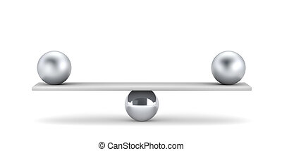 Metal balls on plank - balanced concept