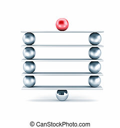 Metal balls on plank - different metaphor. 3d illustration