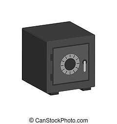 metal, bancario seguro, símbolo., plano, isométrico, icono, o, logo., 3d, estilo, pictogram, para, diseño telaraña, ui, móvil, app, infographic.