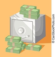 Metal bank safe vector icon. Concept of the icon safe shadow Saving dollar Flat design style vector illustration.