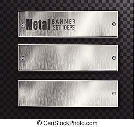 Metal banners horizontal set realistic. Vector Metal brushed plates with a place for inscriptions isolated on transparent background. Realistic 3D design. Stainless steel background.