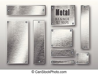Metal banners set realistic. Vector Metal brushed plates with a place for inscriptions isolated on transparent background. Realistic 3D design. Stainless steel background.