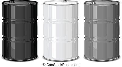 Metal barrels - Three metal barrels on white background,...