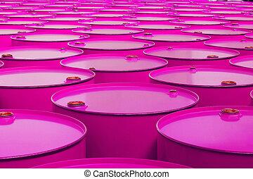 metal barrels of pink color