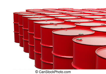metal barrels of red color