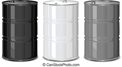 Metal barrels - Three metal barrels on white background, ...