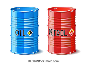 Metal barrels with oil and petrol.
