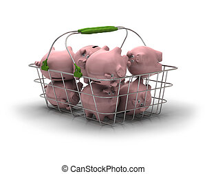 metal basket with lot of pink piggy banks inside over a...