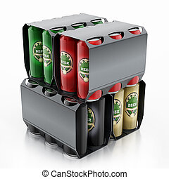 Metal beer cans in a 6 pack package. 3D illustration