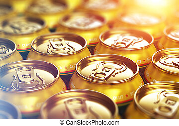 Metal beer drink cans