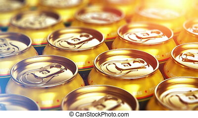 Metal beer drink cans - Creative abstract 3D render...
