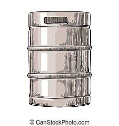 Metal beer keg. Vintage vector engraving illustration for...
