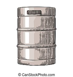 Metal beer keg. Vintage vector engraving illustration for...