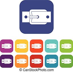 Metal belt buckle icons set flat