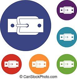 Metal belt buckle icons set