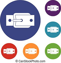 Metal belt buckle icons set