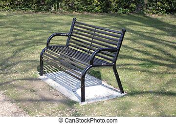 metal bench in a public park