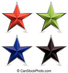 metal bevel star shape - Four star shaped icons with silver ...