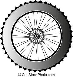 metal bike wheel with tire and spokes. vector - bike wheel...