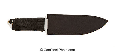 Metal blade with braided handle on a white background