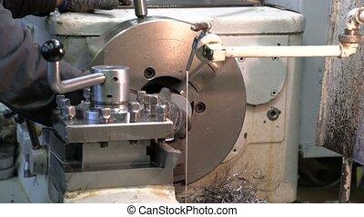 metal blank machining process on lathe