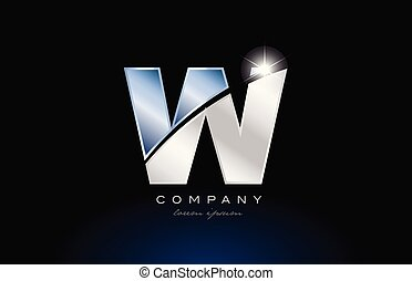alphabet letter w logo design with metal blue color suitable for a company or business