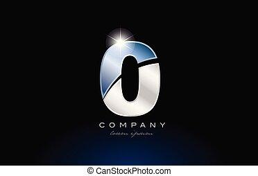 metal blue number 0 zero logo company icon design