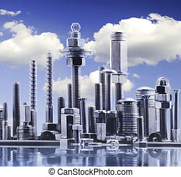 abstract panorama of NY city, made by metal bolt and nut chrome with clouds