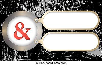 metal, bordas, com, ampersand, e, arranhado, fundo