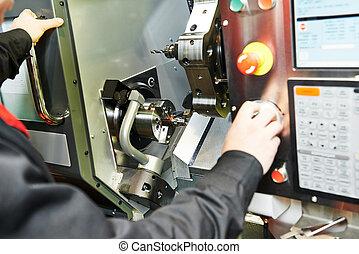 metal boring process on machine tool